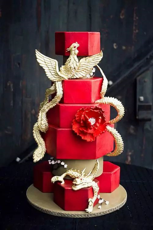 red and gold themed wedding cakes 当中国风遇到西式蛋糕 唯美图片 19075